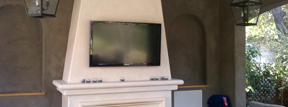 Outdoor Living Television over Fireplace