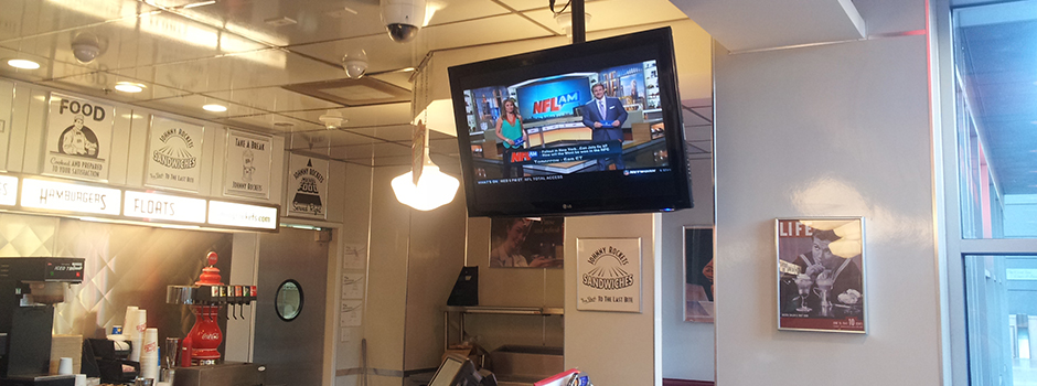 Restaurant In-Ceiling Mounted Television